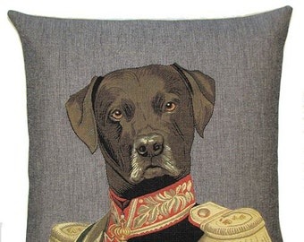 Chocolate Labrador Pillow - Labrador Gift- Labrador Cushion Cover Throw Pillow Labrador Lover Gift 18x18 Belgian Tapestry Cushion - PC329/GR