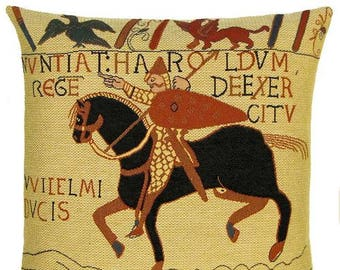 Bayeux Pillow Cover - Bayeux Horse Pillow - Bayeux Harold Throw Pillow - Bayeux Tapestry Pillow - PC937