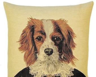 King Cavalier Pillow Cover - 18x18 Belgian Tapestry Pillow Cover - Dog Throw Pillow - King Cavalier Gift - Poncelet Design Cushion
