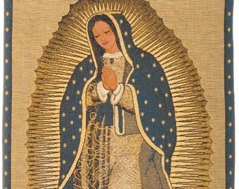 Virgin of Guadalupe Tapestry Wall Hanging - Virgin Mary Wall Decor - Religious Art Decor - Religious Wall Decor - Religious Gift