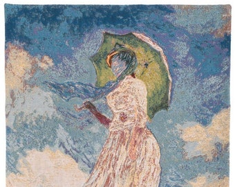 Lady with Umbrella Tapestry Wall Hanging - Fine Arts Wall Decor - Belgian Wall Tapestry Hanging - Monet Gift - Museum Gift
