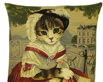 Cat Portrait Pillow Cover - Cat Lover Gift - Cat Decor Pillow - Cat Art Cushion Cover - 18x18 Belgian Tapestry Pillowcase - PC-5390