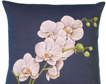 Orchid Pillow Cover - 20x20 Belgian Tapestry Pillow Cover - Orchid throw pillow - Foral Gift - Flower Cushion Cover - PCY-4003