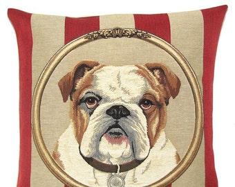 bulldog pillow cover - english bulldog portrait - english bulldog gift - bulldog lover gift - red stripe pillow - belgian tapestry - PC-5331
