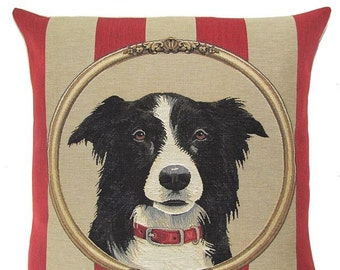 Border Collie Gift - Border Collie Pillow Cover - 18x18 Belgian Tapestry Pillow - Dog Decor Gift
