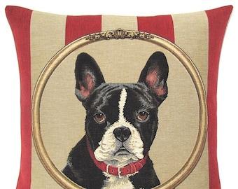 French Bulldog Pillow Cover - Boston Terrier Pillow - 18x18 Belgian Tapestry Pillow Case - Boston Terrier Lover Gift - PC-5330