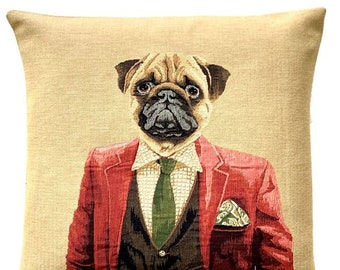 Pug Pillow Cover - Pug Portrait Throw Pillow - Dandy Pug - Dog Lover Gift - Tapstry Cushion Cover - Dog Art - Pet ortrait Cushion Cover