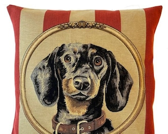 Dachshund Pillow Cover - Dachshund Cushion Cover - Dachshund Portrait - Dachshund Throw Pillow - 18x18 pillow cover