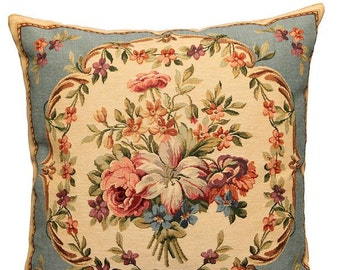 French Decor Pillow Cover - French Decor Gift - 18x18 Belgian Tapestry Cushion - Flower Pillow - PC-1804/13