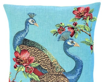 Peacock Decor - Peacock Pillow Cover - Peacock Lover Gift - Blue Pillow - 18x18 Belgian Tapestry Cushion - Peacock Throw Pillow  - PC-5666