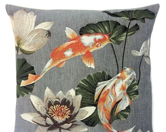 Oriental Decor - Koi Fish Decor Accent - Koi Fish Throw Pillow - Gobelin Pillow Cover - Grey Cushion Cover - Belgian Tapestry