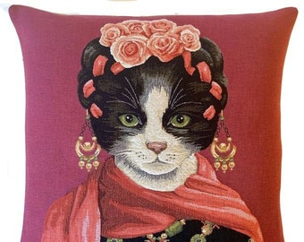 Frida Kahlo Pillow Cover - Cat Portrait Cushion Cover - Cat Art - Cat Lover Gift - tapestry throw pillow - Frida Kahlo Decor