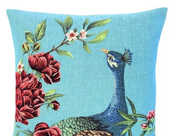 Peacock Pillow Cover - Peacock Lover Gift - Blue Pillow - 18x18 Belgian Tapestry Cushion - Peacock Throw Pillow  - Peacock Decor - PC-5665