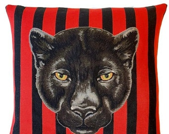 Panther Pillow Cover - Panther Cushion Cover - Wildlife Decor - Black Panther Gift - Panther Decor - Tapestry Throw Pillow - 18x18 pillow