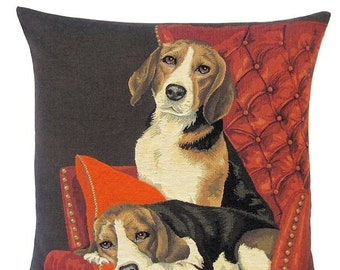 Beagle Pillow Cover - 18x18 Belgian Tapestry Pillow Cover - Beagle Lover Gift - Beagle Decor - PC-5336