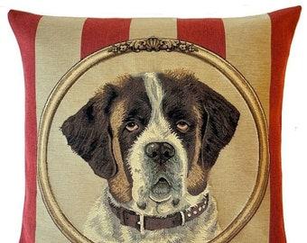 Saint Bernard Pillow Cover - Saint Bernard Cushion Cover - Saint Bernard Portrait - Saint Bernard Throw Pillow - 18x18 pillow cover