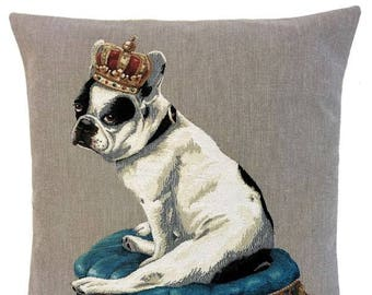 French Bulldog Pillow - Boston Terrier Gift - 18x18 Belgian Tapestry Cushion Cover - Bulldog Lover Gift - PC-5658