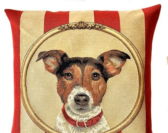 Jack Russell Pillow Cover - Jack Russell Cushion Cover - Jack Russell Portrait - Jack Russell Throw Pillow - 18x18 pillow cover