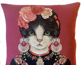 Frida Kahlo Decor - Frida Kahlo Cushion Cover - Cat Art - Cat Portrait - Red Decorative Throw Pillow - Tapestry Pillow Cover - For Her