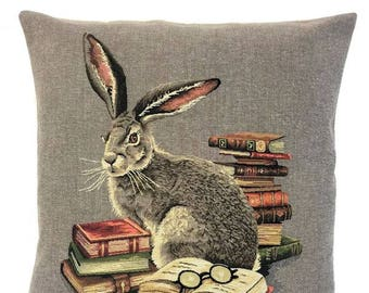 Rabbit Pillow Cover - Rabbit Lover Gift - Rabbit Throw Pillow - Forest Decor - Hare Throw Pillow - 18x18 Belgian Tapestry Cushion - PC-5675
