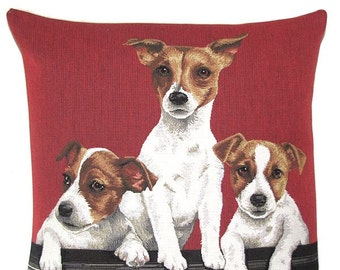 Jack Russel Terrier Pillow Cover - Jack Russell Terrier Gift - 18x18 red cushion cover - Jack Russell pups - Jack Russell Gift