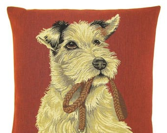 Parson Russell Terrier Pillow Cover - Parson Terrier Gift - Dog Lover Gift - Dog Decor - 18x18 Belgian Tapestry Cushion Cover - PC-5656