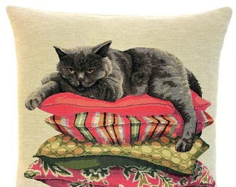 British shorthair gift - Cat Throw Pillow - Cat Cushion Cover - Cat Decor - 18x18 Belgian Tapestry Cushion  - PC-5661