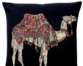 Camel Pillow Cover - Camel Decor - Camel Gift - Boho Decor - Black Throw Pillow - Tapestry Cushion Cover - Nomad Decor