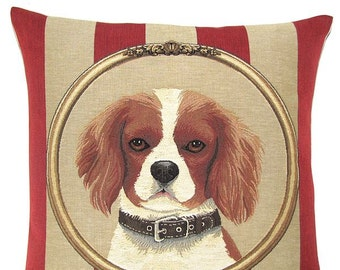 King Charles Cavalier Pillow Cover - 18x18 Belgian Tapestry Dog Cushion Cover - King Cavalier Throw Pillow