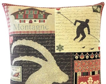 Mountain Decor - Patchwork Pillow - Ski Decor - Savoie French Decor - 18x18 Belgian Tapestry Pillow - Lodge Decor - PC-5692