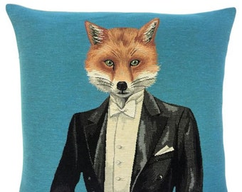 quirky pillow cover - quirky fox pillow - black tuxedo gift - funny fox decor - 18x18 tapestry cushion cover - fox throw pillow - for him