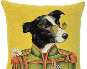 Border Collie Pillow Cover- Dog Portrait Cushion Cover -  John Lennon Lover Gift - Lennon Decor - 18x18 belgian tapestry cushion - PC-5705