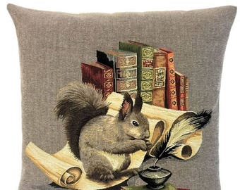 Squirrel Gift - Squirrel Decor - Squirrel Pillow - 18x18 Belgian Tapestry Pillow Cover - Squirrel Throw Pillow - Book Lover Gift - PC-5676