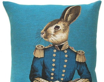 Rabbit Pillow Cover - Rabbit Lover Gift - Rabbit Decor - Fabfunky Cushion Cover - Turquoise Pillow - Dressed Rabbit Throw Pillow  - PC-5344