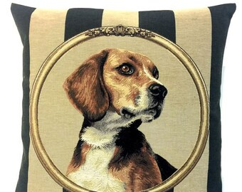 Beagle Pillow Cover - Hunting Dog Gift - Hunting Gift - Hunting Decor - Striped Throw Pillow - Belgian Tapestry Cushion Cover