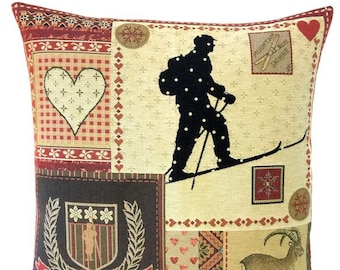 Ski Decor Pillow Cover - Patchwork Pillow - Ski Lover Gift - Mountain Decor - Savoie Decor - BelgianTapestry Cushion Cover - PC-5691