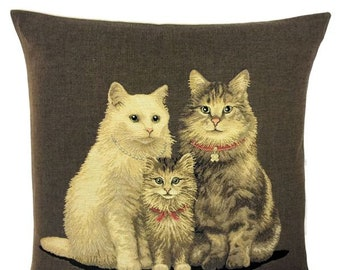 Cat Family Pillow Cover - Cat Lover Gift - Cat Decor - Chocoalte Brown Cushion Cover - Cat Throw Pilllow - 18x18 tapestry cushion - for her