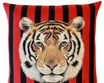 Tiger Cushion Cover - Tiger Pillow - Wildlife Decor - Tiger Gift - Tiger Decor - Tapestry Throw Pillow - 18x18 pillow cover