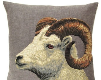 capricorn pillow cover - goat pillow cover- forest decor - 18x18 belgian tapestry pillow cover - PC-5348