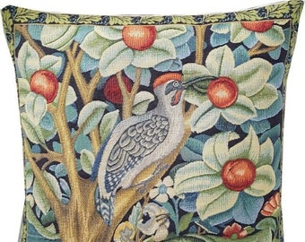 Woodpecker Pillow Cover - William Morris Woodpecker Cushion Cover - Morris Home Decor - Gobelin Pillow Case - Belgian Tapestry Pillow