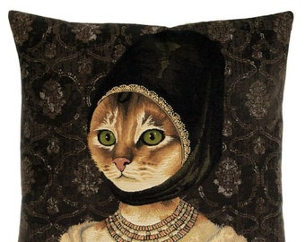 Cat Portrait Pillow Cover - Cat Lover Gift - Royal Portrait Decor - 18x18 Belgian Tapestry Cushion Cover - Quirky Cat  Gift