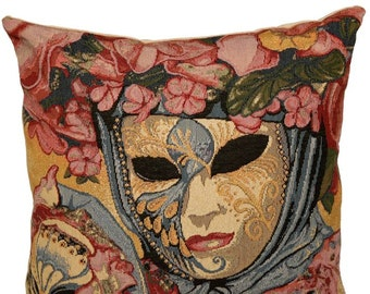 belgian gobelin tapestry cushion cover throw pillow traditional venetian carnival mask - PC-325