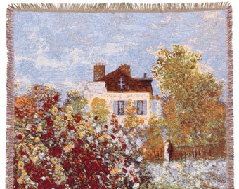 Monet Throw Blanket - House of Monet Tapestry Throw - 56x56 Belgian Tapestry Throw - Monet Design Throw Blanket - TT-7148
