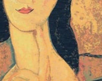 Modigliani Reproduction Tapestry Wall Hanging - Jeanne Hebuterne Portrait Wall Hanging - Italian Art Decor - Fine Arts Gift