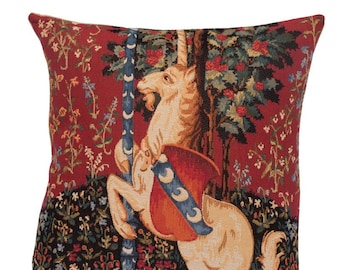Unicorn Pillow Cover - Medieval Tapestry Cushion Cover - Millefleurs motif - The Lady and the Unicorn - Red Throw Pillow