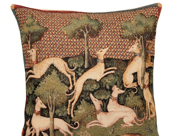 Greyhounds Pillow Cover - Medieval Decorative Pillow - Dogs Scenery Cushion Cover - Belgian Tapestry Throw Pillow - Medieval Gift