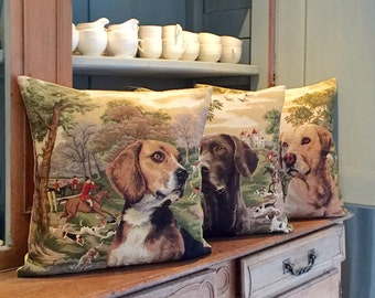forest decor pillow covers - foxhunt decor - dog lover gift - beagle lover gift - pointer pillow case - tapestry cushions - PC-5465/3