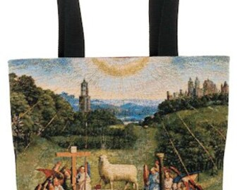belgian gobelin tapestry tote bag The Adoration of The Mystic Lamb by Jan Van Eyck jacquard woven