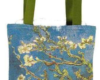 belgian gobelin tapestry tote bag Almond Branches by Vincent Van Gogh jacquard woven