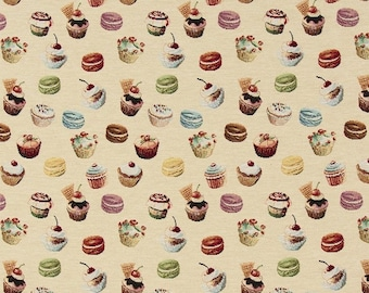 cupcake fabric - bakery fabric - gourmet fabric - jacquard woven fabric - quilting fabric - upholstery fabric - TF-9008